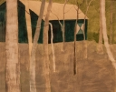 Het groene huisje, tekening op papier, 30x24cm