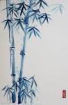 Caroline Mars, Bamboo in Blue, 50x75cm