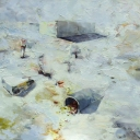 Wit landschap, olieverf op linnen