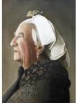 Frank Zindler, portret Scheveningse, aquarel, 48x64cm