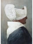 Frank Zindler, portret Volendamse, 48x64cm