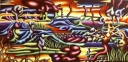 Anatomischlandschap, acryl op linnen, 200x100cm